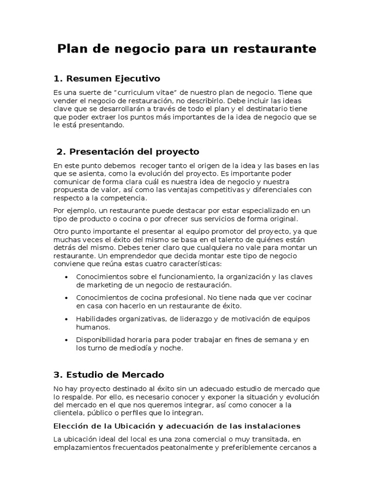 Plan de negocio para un restaurante en for Plan de negocios para un restaurante