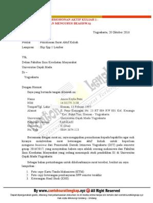 Contoh Surat Permohonan Aktif Kuliah