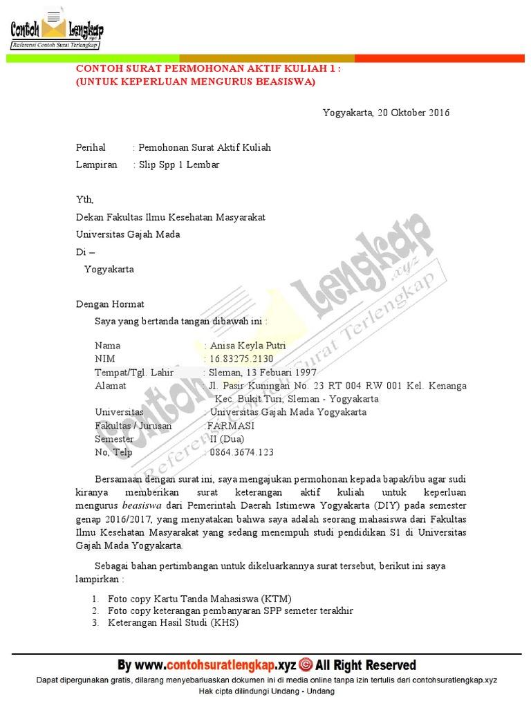 Contoh Surat Permohonan Aktif Kuliah Kembali