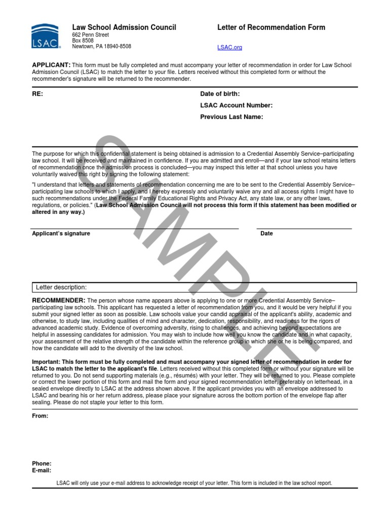 sample letter of recommendation form lsac original