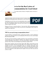 Letters of Recommendation for Graudate School