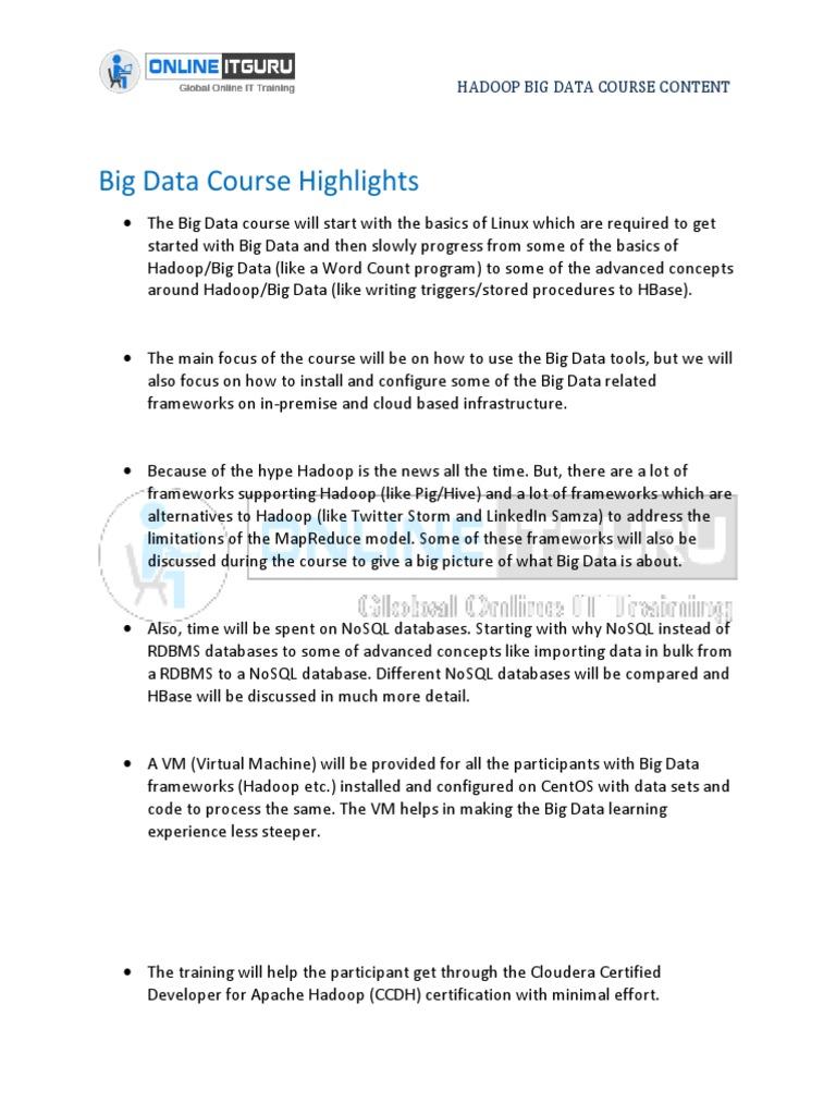 Hadoop Big Data Online Training Apache Hadoop No Sql