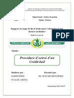 Rapport de Stage- Procédure d'Octroi d'Un Crédit-bail - Cas de La Banque BADR Oran Algérie