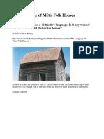 The Language of Métis Folk Houses