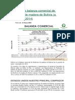 Déficit en La Balanza Comercial de Productos de Madera de Bolivia