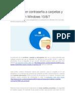 Cómo Poner Contraseña a Carpetas y Archivos en Windows 10 o 8 o 7