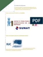 Aspecto Tributario en La Constitución de Empresas
