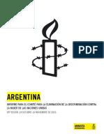 Informe para el Comité para la Eliminación de la Discriminación Contra la Mujer de las Naciones Unidas