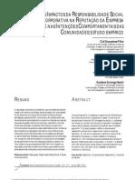 Responsabilidade Social Corporativa, Reputação, Confiança e Intenções Comportamentais - Publicação