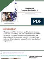 Summary of Pharmacy Services NC III