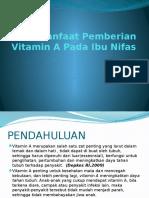 Manfaat Pemberian Vitamin a Pada Ibu Nifas- DR M