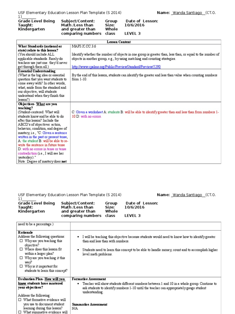 worksheet Greater Less Than c t o 1 lesson plan and reflection teachers