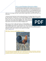 Breeding Game Fowl is a Good Business but Not to Others
