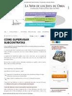 Cómo Supervisar Subcontratas - Procedimiento Constructivo Ardila