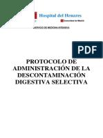 Protocolo de Administración de La Descontaminación Digestiva Selectiva