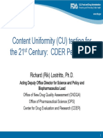 Content Uniformity (CU) Testing for the 21st Century CDER Perspective