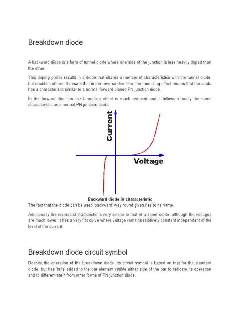 Breakdown Diode Circuit Diagram Zener Characteristics 1533060989v1