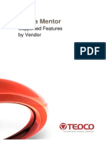 Ultima Mentor Supported Features by Vendor
