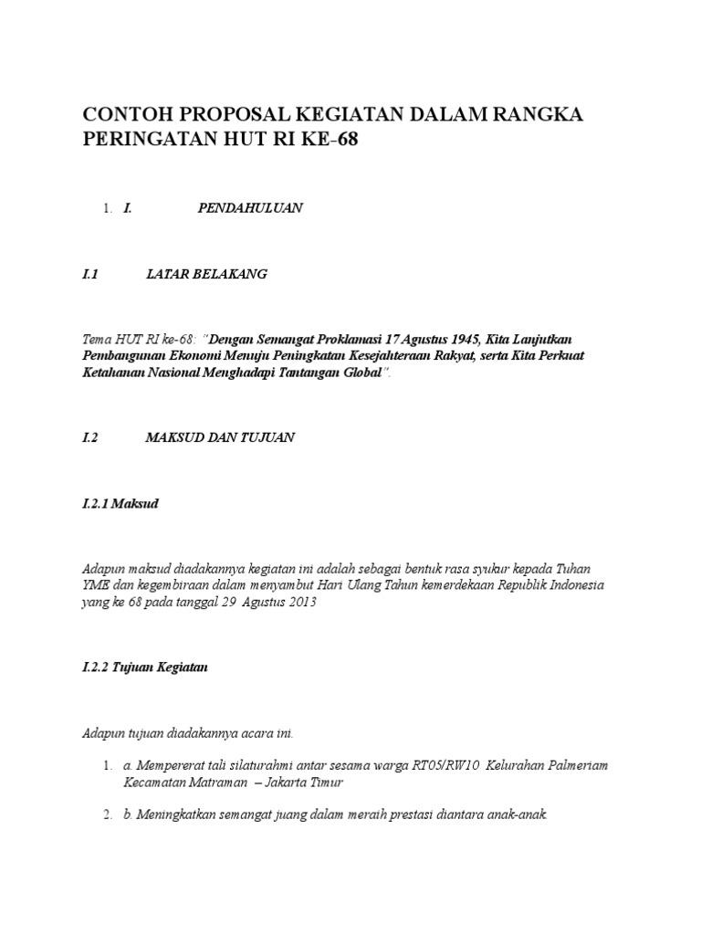 Contoh Proposal Kegiatan Dalam Rangka Peringatan Hut Ri