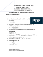 Examen Final de Analisis Matematico  III 2016 Civil Hvca