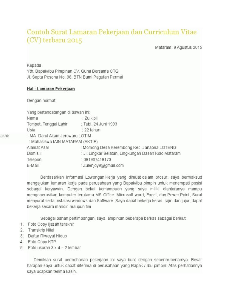 Contoh Surat Lamaran Pekerjaan Dan Curriculum Vitae