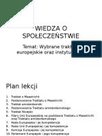 39 Wybrane Traktaty Europejskie Oraz Instytucje UE