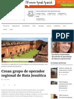 ruta jesuitas turismo Crean grupo de operador regional de Ruta Jesuítica