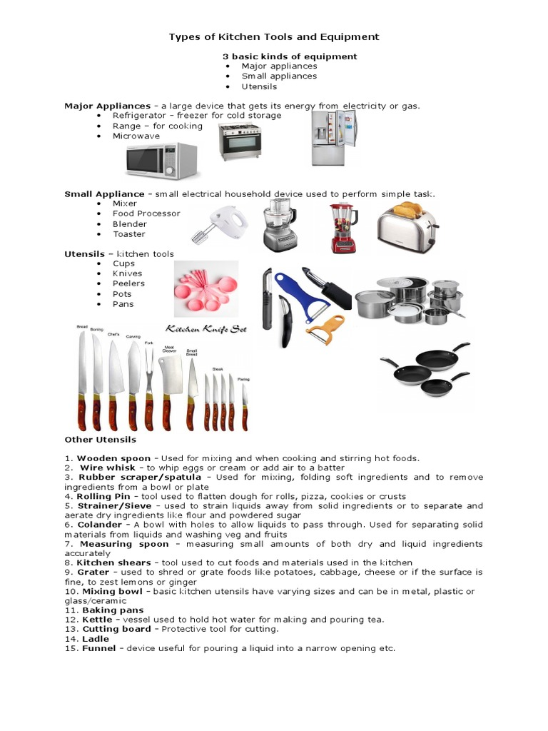 Types Of Kitchen Tools And Equipment Kitchen Utensil