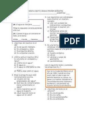 Examen De Espanol Sexto Grado Primer Bimestre Plural Idiomas
