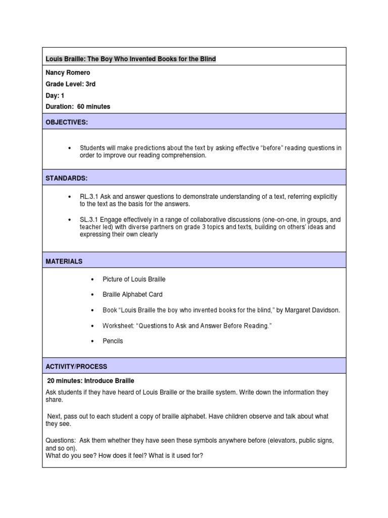 Louis Braille Lesson Plan Nancy Romero From Day 1 8 Reading