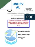 APERTURA DEL CENTRO COMERCIAL REAL PLAZA Y EL NIVEL DE VENTAS DE LAS MYPES COMERCIALES HUÁNUCO 2013.