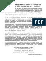 Declaración Triestamental Frente Al Paro de Trabajadores de La Empresa de Aseo y Jardines