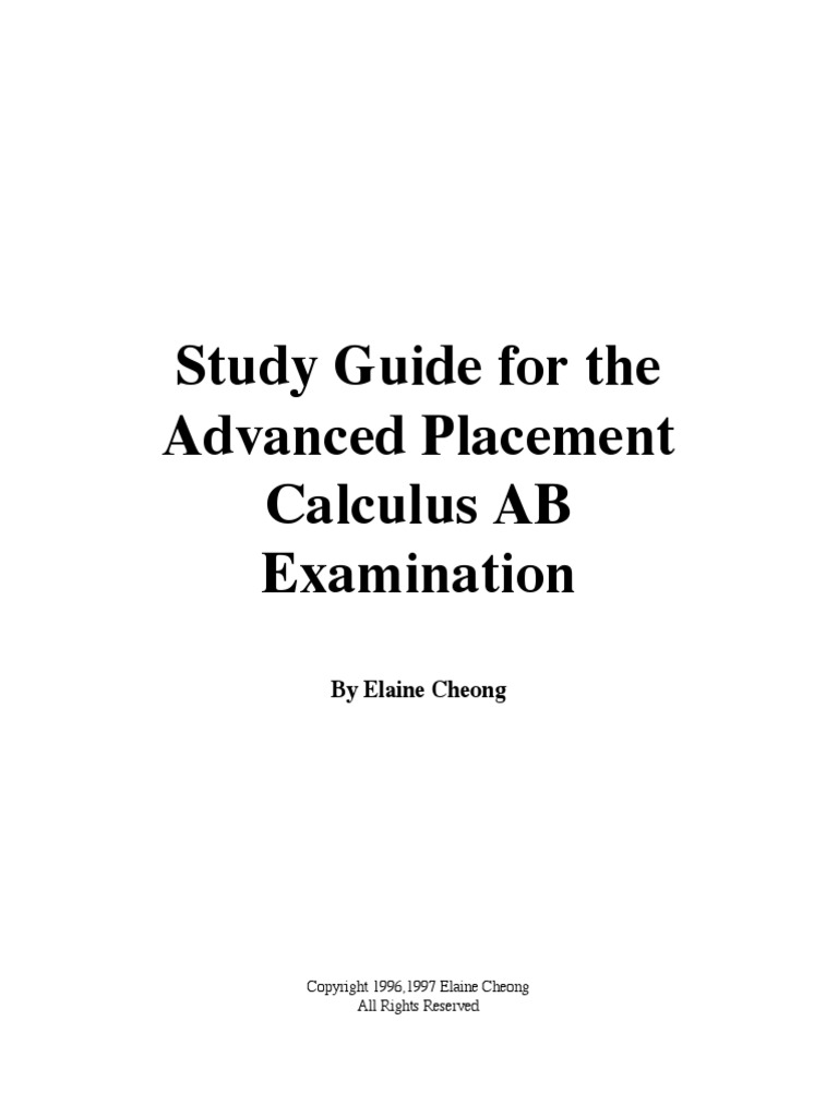 study guide for the advanced placement calculus ab