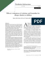 Efficacy Comparison of Cetirizine and Loratadine For