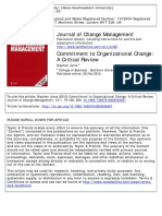 Commitment to Organizational Change- A Critical Review