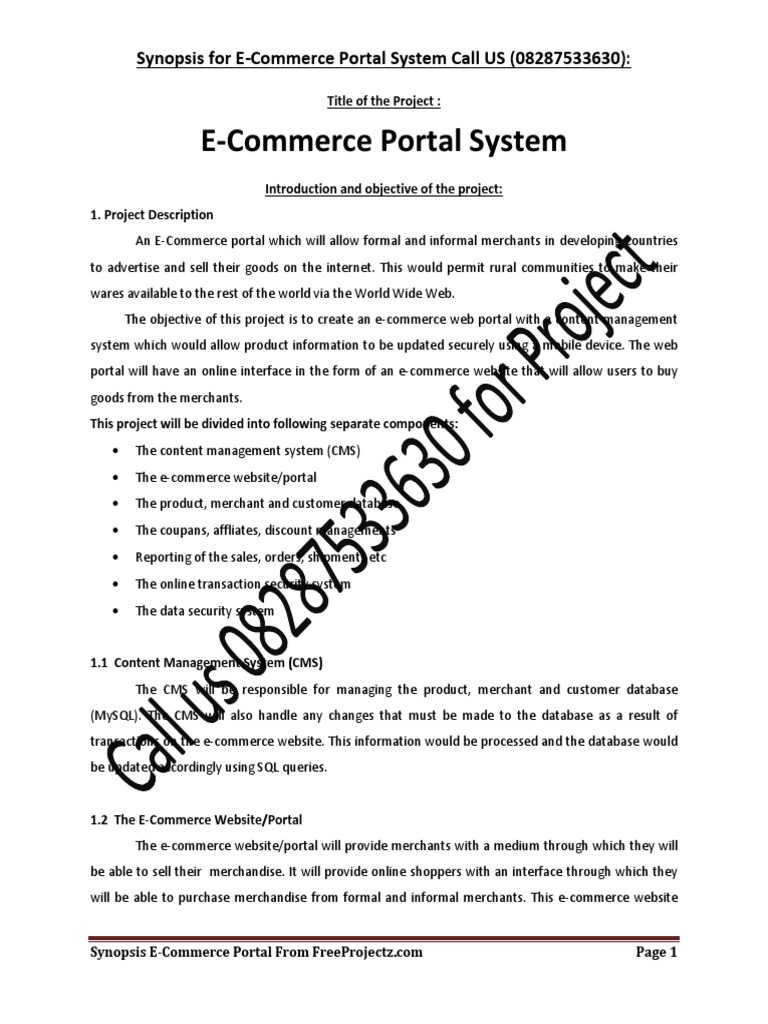 252807243-E-Commerce-Project-Synopsis pdf | Model–View