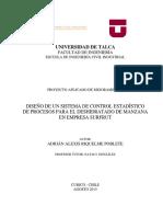 Diseño de un sistema de control estadístico para proceso deshidratado manzana Empresa SurFrut Chile