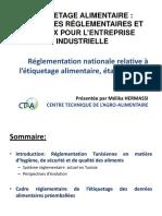 Réglementation Nationale Relative à l'Étiquetage Alimentaire Par Mme Melika HERMASSI Expert CTAA