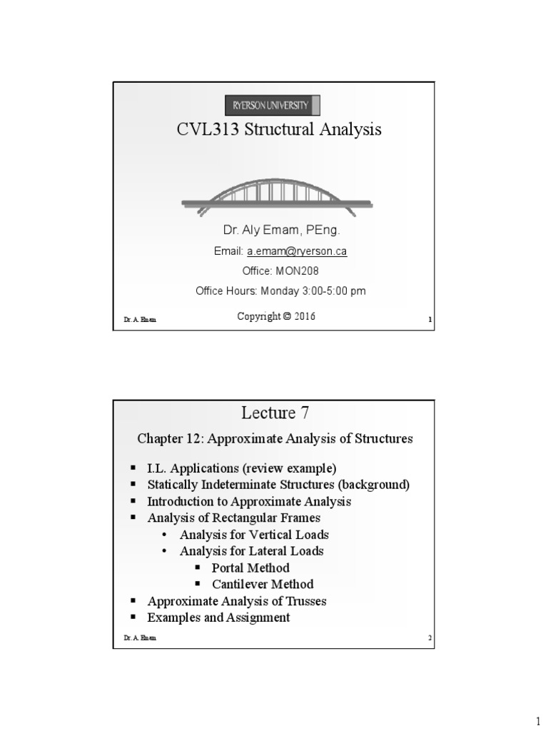 Lecture_7_F16_CVL313_Approximate.pdf   Truss   Structural Analysis