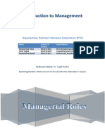 Management Project -PTV Managerial Role