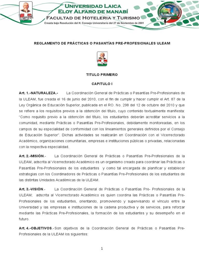 Reglamento General de Prácticas y Pasantias Turismo