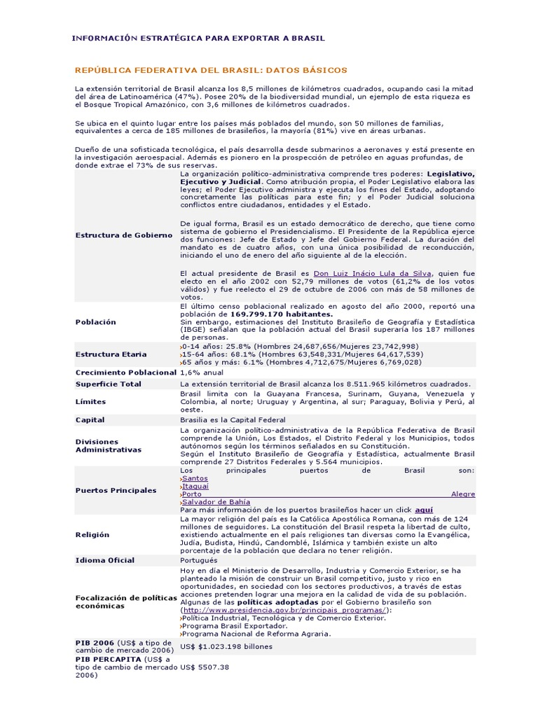 Información Estratégica Para Exportar A Brasil Brazil