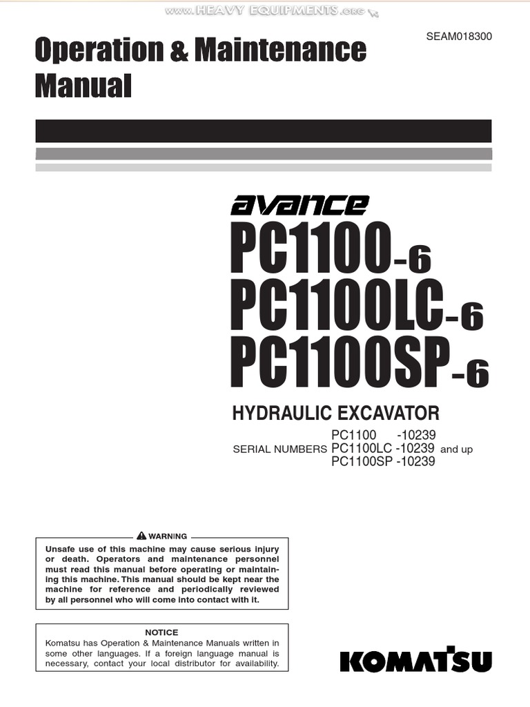Manual Komatsu Pc1100 6 Lc Sp Hydraulic Excavator Safety Operation  Maintenance Parts   Door   Seat Belt