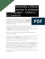 Precio Demanda Oferta-Arequipa (CAPECO-El Comercio)