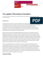 The Legality of Recording Conversations :