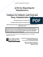 Medical Device Reporting for Manufacturers Guidance for Industry and Food and Drug Administration Staff