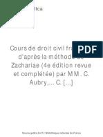 Cours de Droit Civil Français [...]Aubry Charles Bpt6k5688690m