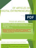 Review of Articles on Digital Entrepreneurship