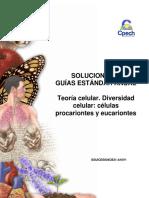 2016 Solucionario Guía 4 Teoría Celular Diversidad Celular - Células Procariontes y Eucariontes