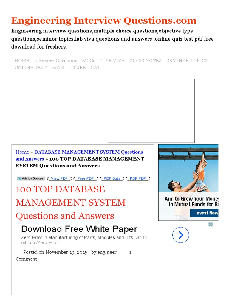100 TOP DATABASE MANAGEMENT SYSTEM Questions and Answers